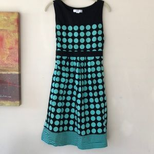 MOTHERHOOD minty polka dot tie elastic back A-line